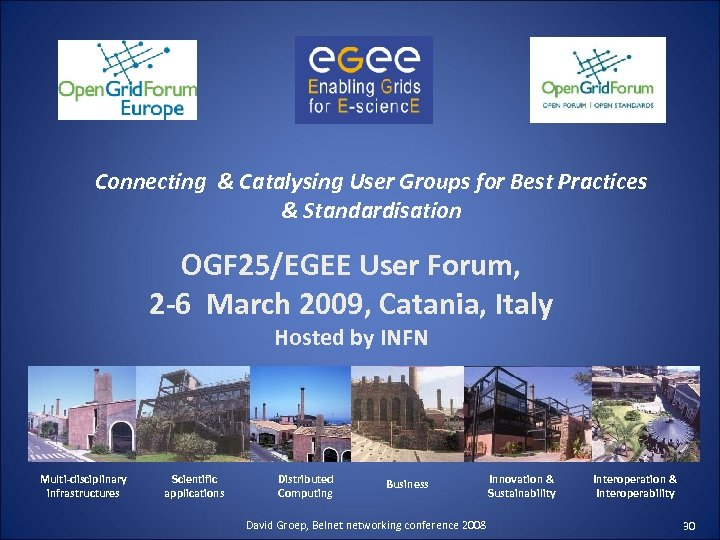Connecting & Catalysing User Groups for Best Practices & Standardisation OGF 25/EGEE User Forum,