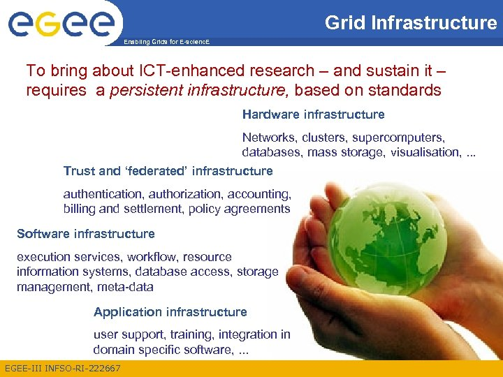 Grid Infrastructure Enabling Grids for E-scienc. E To bring about ICT-enhanced research – and