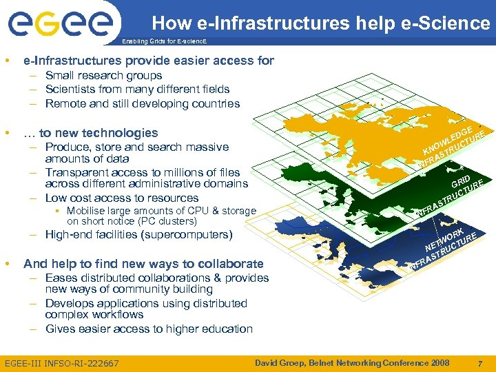 How e-Infrastructures help e-Science Enabling Grids for E-scienc. E • e-Infrastructures provide easier access