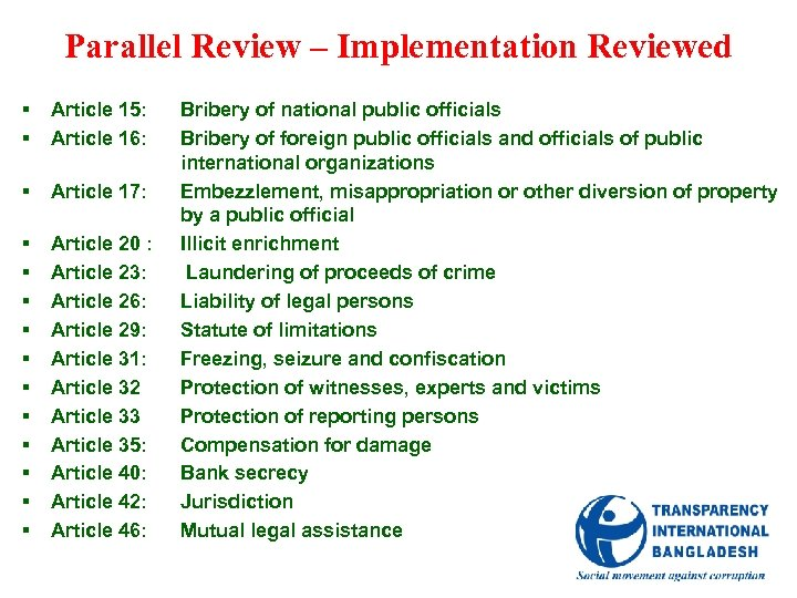 Parallel Review – Implementation Reviewed § § Article 15: Article 16: § Article 17: