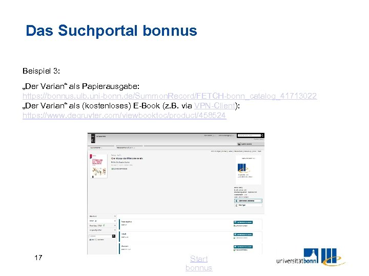"""Das Suchportal bonnus Beispiel 3: """"Der Varian"""" als Papierausgabe: https: //bonnus. ulb. uni-bonn. de/Summon."""