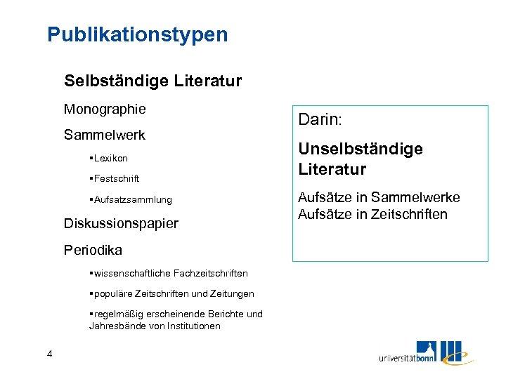 Publikationstypen Selbständige Literatur Monographie Sammelwerk §Lexikon §Festschrift §Aufsatzsammlung Diskussionspapier Periodika §wissenschaftliche Fachzeitschriften §populäre Zeitschriften