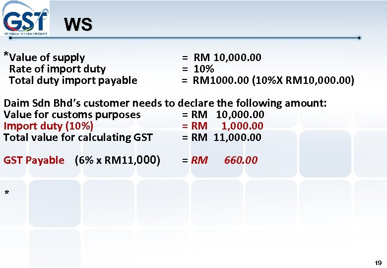 WS *Value of supply Rate of import duty Total duty import payable = RM