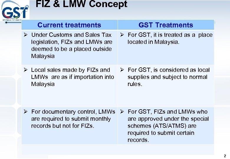 FIZ & LMW Concept Current treatments GST Treatments Ø Under Customs and Sales Tax