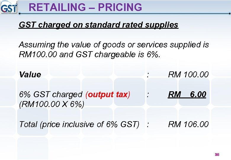 RETAILING – PRICING GST charged on standard rated supplies Assuming the value of goods