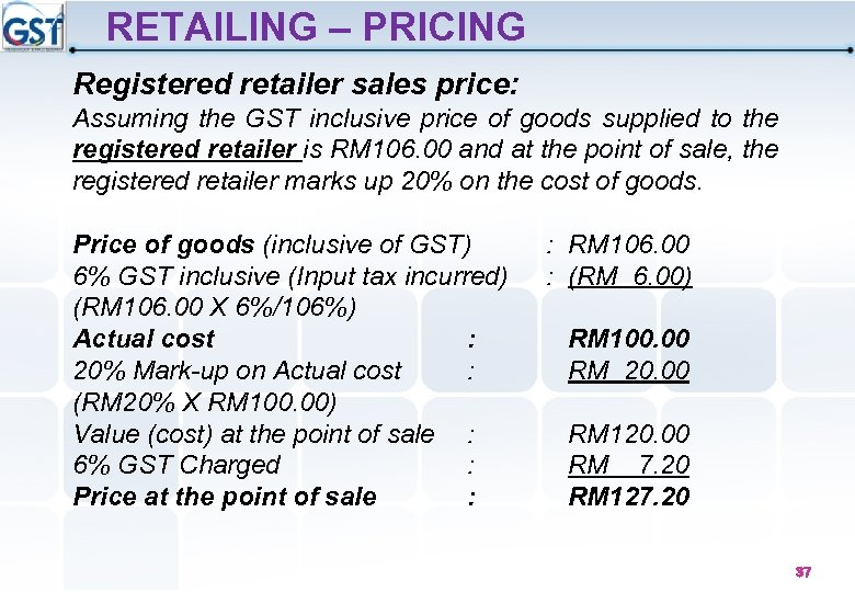 RETAILING – PRICING Registered retailer sales price: Assuming the GST inclusive price of goods