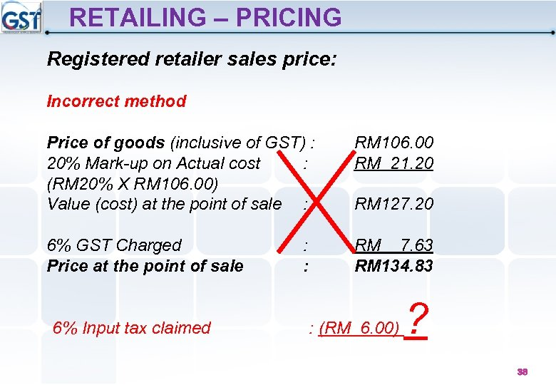 RETAILING – PRICING Registered retailer sales price: Incorrect method Price of goods (inclusive of