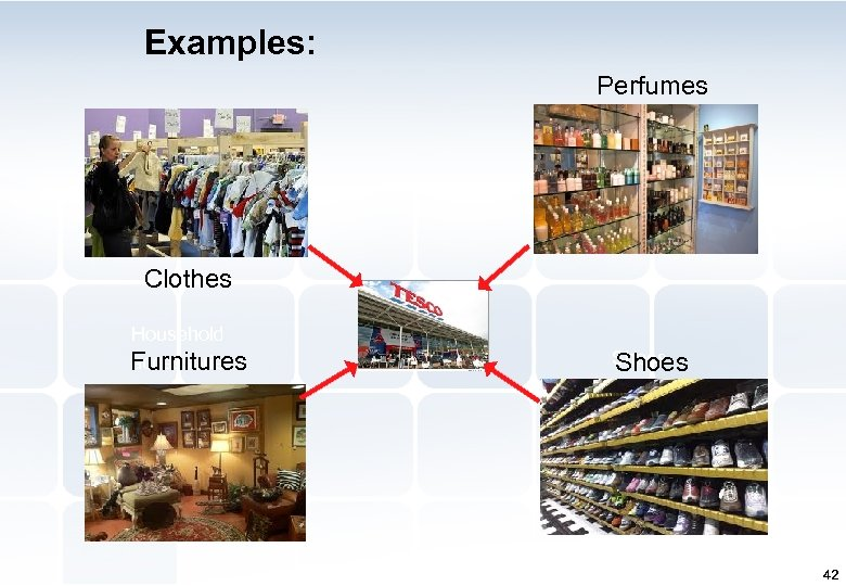 Examples: Perfumes Clothes Household accessories Furnitures Shoes 42