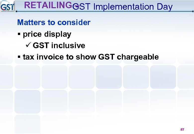 RETAILINGGST Implementation Day – Matters to consider § price display GST inclusive § tax