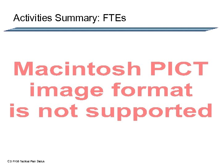 Activities Summary: FTEs CD FY 08 Tactical Plan Status