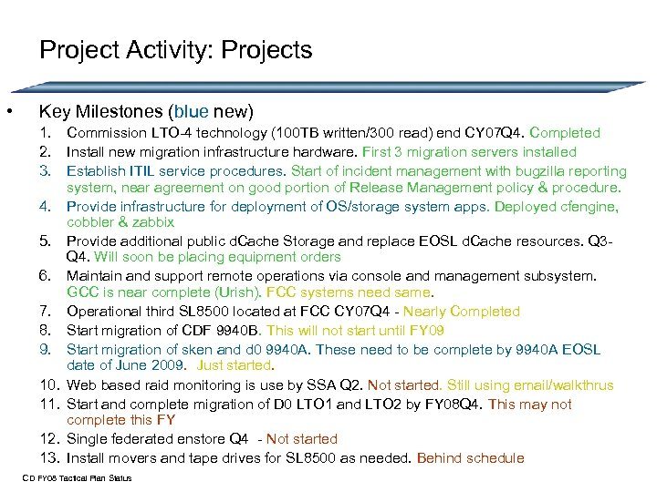 Project Activity: Projects • Key Milestones (blue new) 1. Commission LTO-4 technology (100 TB