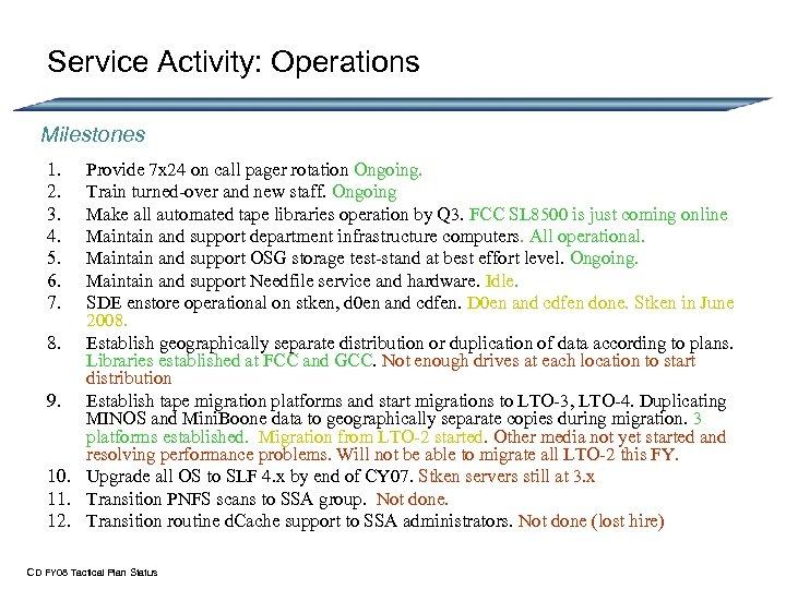Service Activity: Operations Milestones 1. 2. 3. 4. 5. 6. 7. Provide 7 x