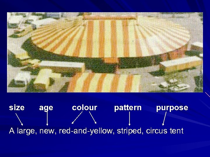 size age colour pattern purpose A large, new, red-and-yellow, striped, circus tent