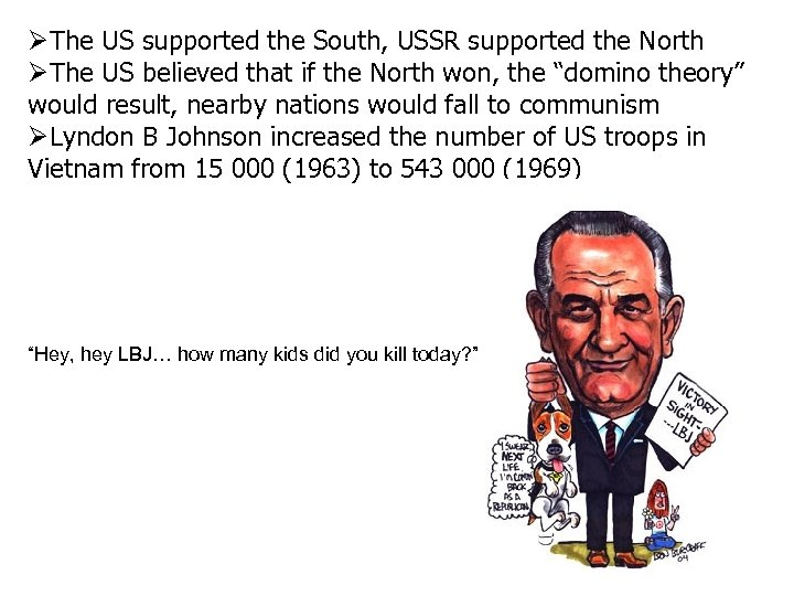 The US supported the South, USSR supported the North The US believed that
