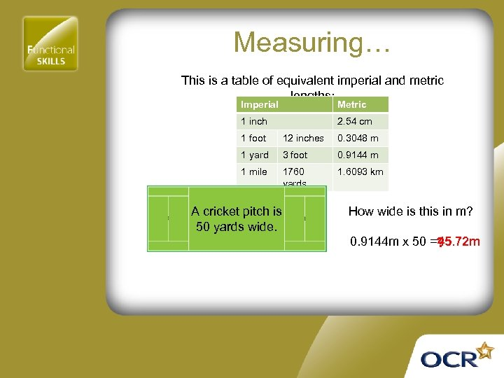 Measuring… This is a table of equivalent imperial and metric lengths: Imperial Metric 1