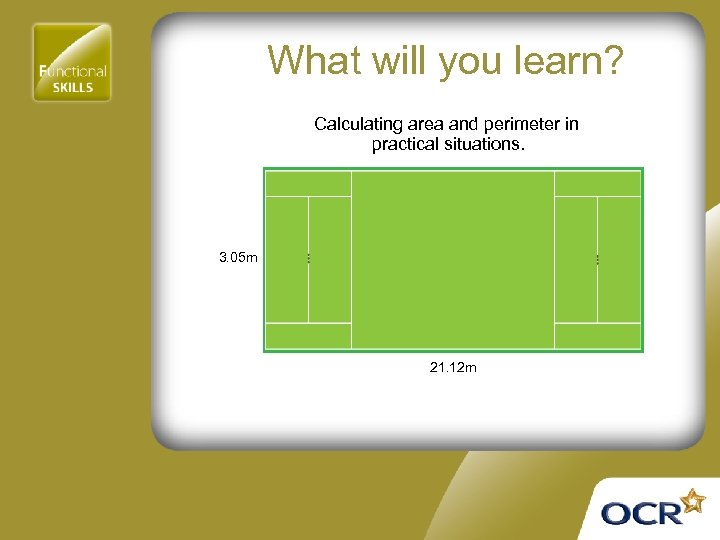 What will you learn? Calculating area and perimeter in practical situations. 3. 05 m