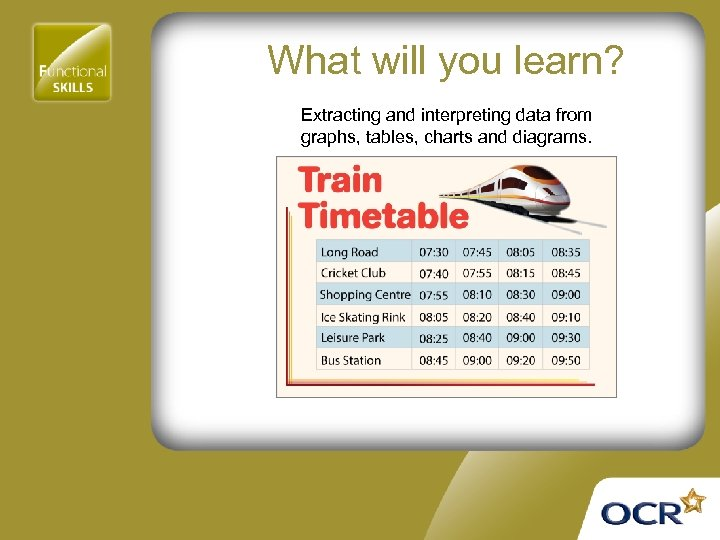 What will you learn? Extracting and interpreting data from graphs, tables, charts and diagrams.