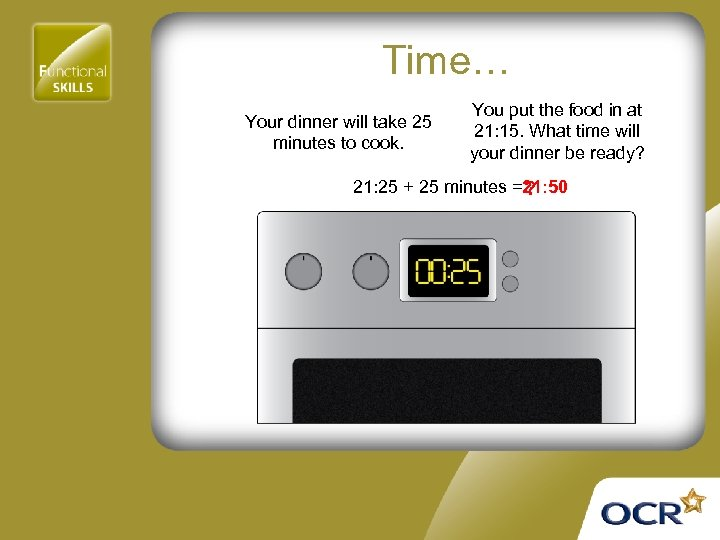 Time… Your dinner will take 25 minutes to cook. You put the food in