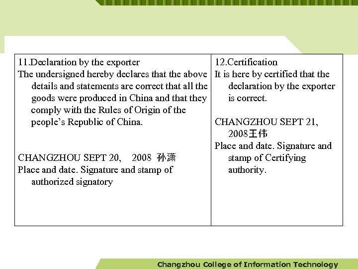 11. Declaration by the exporter The undersigned hereby declares that the above details and