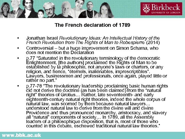 The French declaration of 1789 • • Jonathan Israel Revolutionary Ideas: An Intellectual History