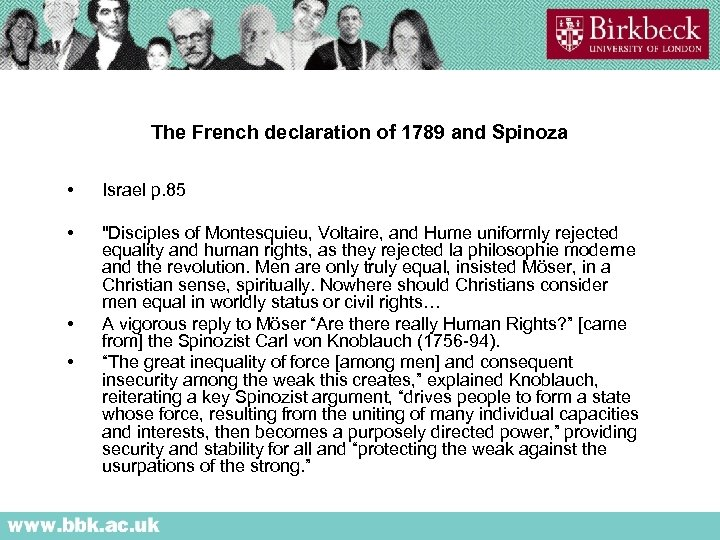The French declaration of 1789 and Spinoza • Israel p. 85 •