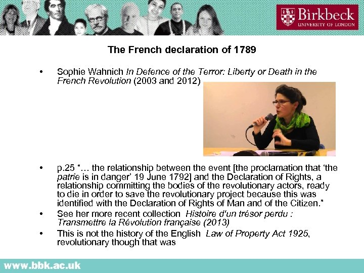 The French declaration of 1789 • Sophie Wahnich In Defence of the Terror: Liberty