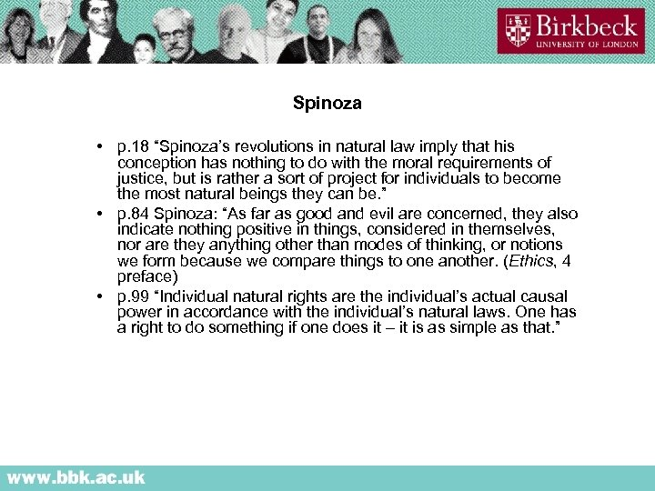 """Spinoza • p. 18 """"Spinoza's revolutions in natural law imply that his conception has"""