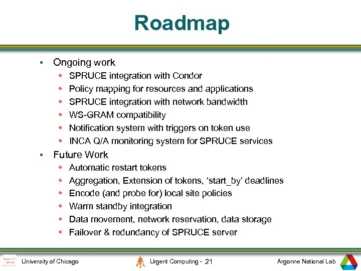 Roadmap • Ongoing work w w w SPRUCE integration with Condor Policy mapping for