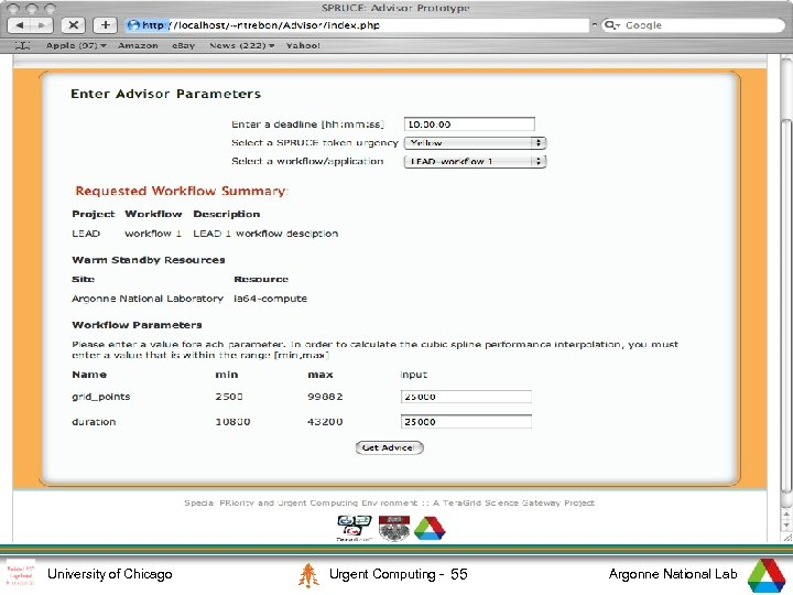2 University of Chicago Urgent Computing - 55 Argonne National Lab