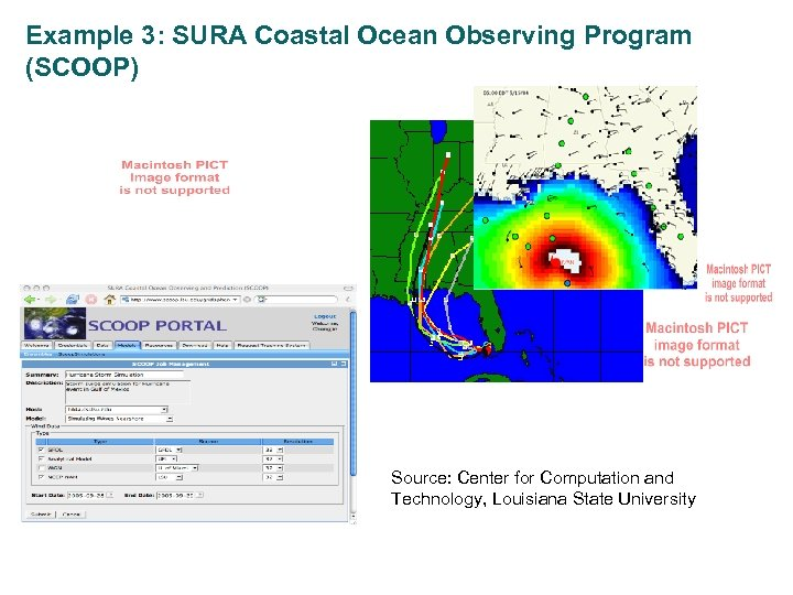 Example 3: SURA Coastal Ocean Observing Program (SCOOP) Flood modeling example Source: Center for