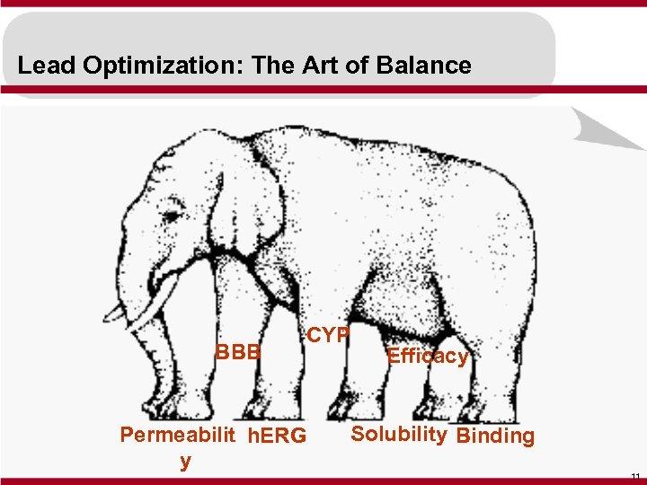 Lead Optimization: The Art of Balance BBB CYP Permeabilit h. ERG y Efficacy Solubility