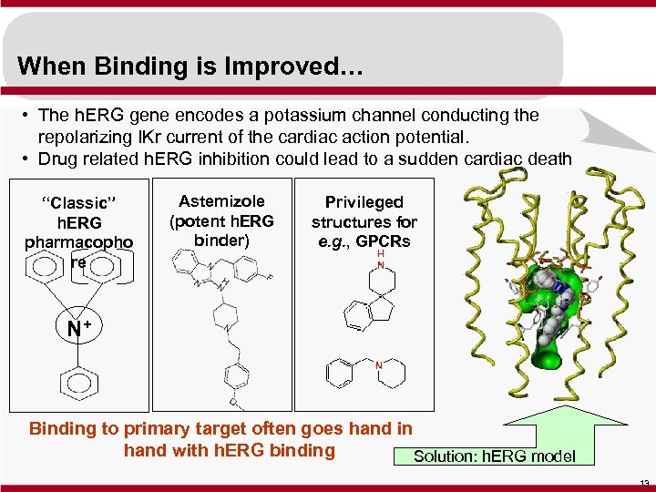 When Binding is Improved… • The h. ERG gene encodes a potassium channel conducting