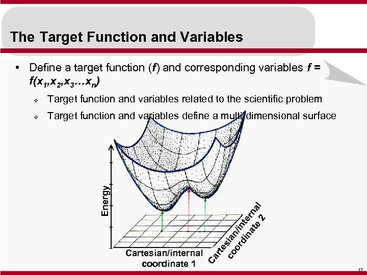 The Target Function and Variables • Define a target function (f) and corresponding variables