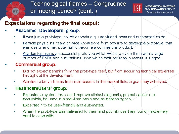 Technological frames – Congruence or Incongruence? (cont. . ) Expectations regarding the final output: