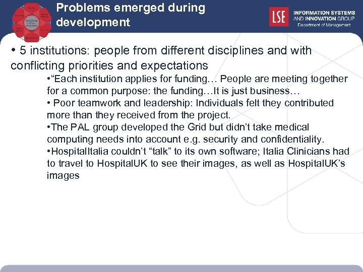 Problems emerged during development • 5 institutions: people from different disciplines and with conflicting