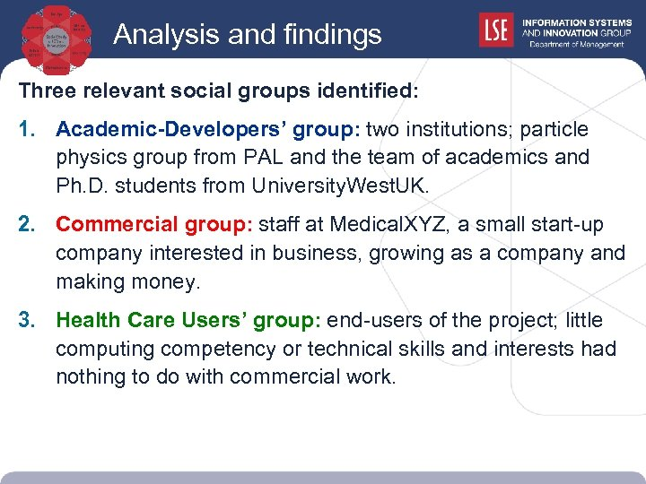 Analysis and findings Three relevant social groups identified: 1. Academic-Developers' group: two institutions; particle