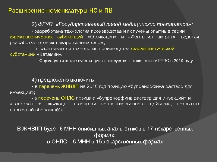 Расширение номенклатуры НС и ПВ 3) ФГУП «Государственный завод медицинских препаратов» : - разработана