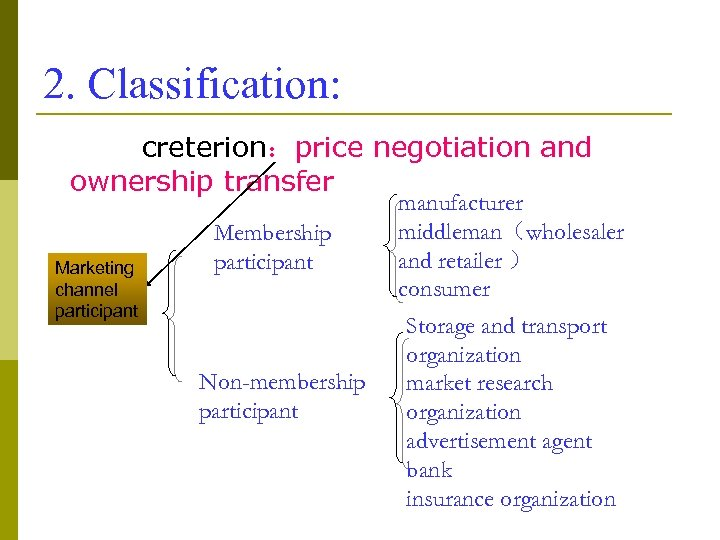 2. Classification: creterion:price negotiation and ownership transfer Marketing channel participant Membership participant Non-membership participant