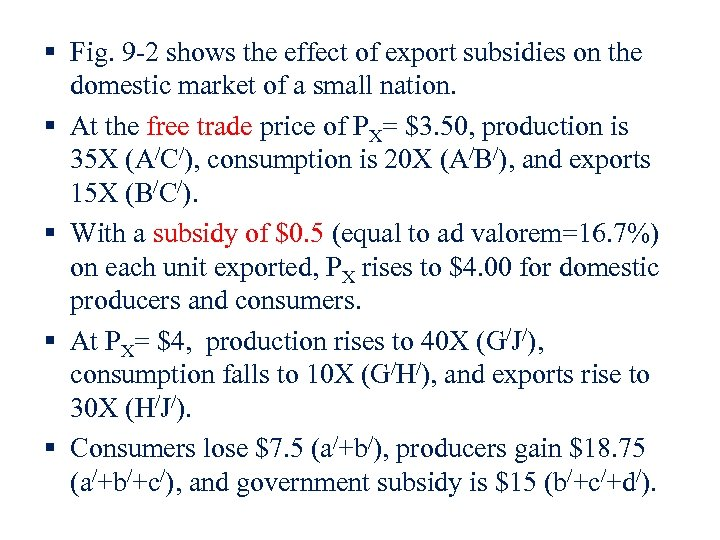 § Fig. 9 -2 shows the effect of export subsidies on the domestic market