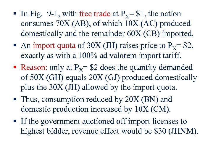 § In Fig. 9 -1, with free trade at PX= $1, the nation consumes