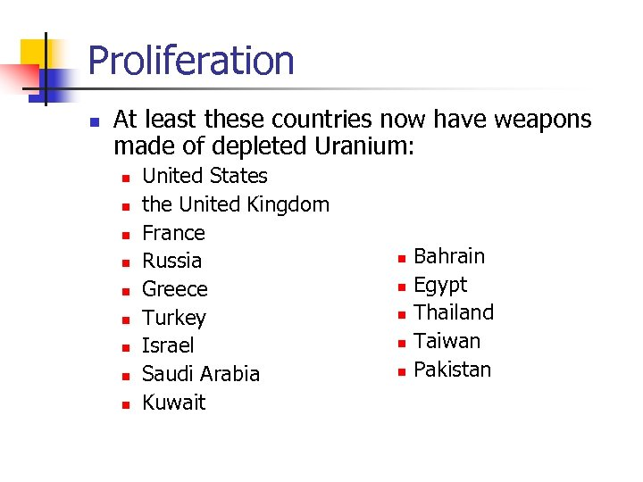 Proliferation n At least these countries now have weapons made of depleted Uranium: n