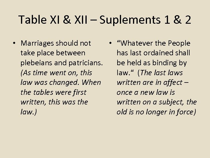Table XI & XII – Suplements 1 & 2 • Marriages should not •