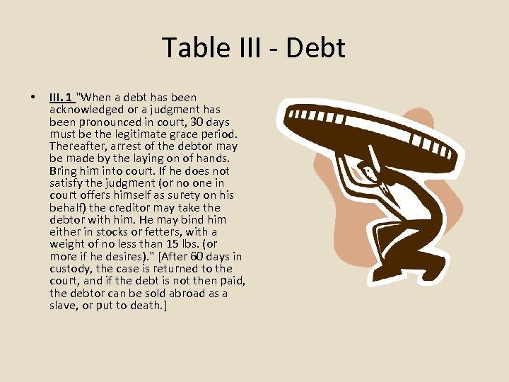 Table III - Debt • III. 1