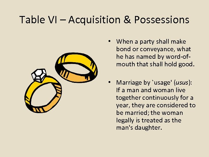 Table VI – Acquisition & Possessions • When a party shall make bond or