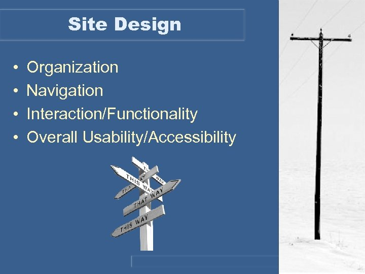 Site Design • • Organization Navigation Interaction/Functionality Overall Usability/Accessibility