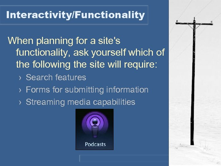 Interactivity/Functionality When planning for a site's functionality, ask yourself which of the following the
