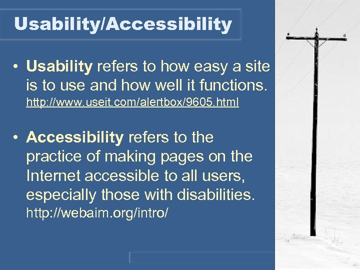 Usability/Accessibility • Usability refers to how easy a site is to use and how