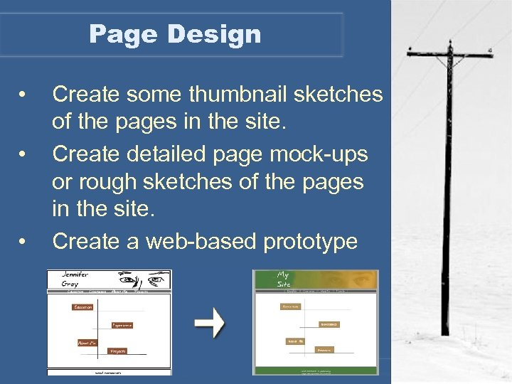 Page Design • • • Create some thumbnail sketches of the pages in the