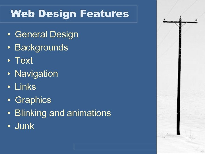 Web Design Features • • General Design Backgrounds Text Navigation Links Graphics Blinking and