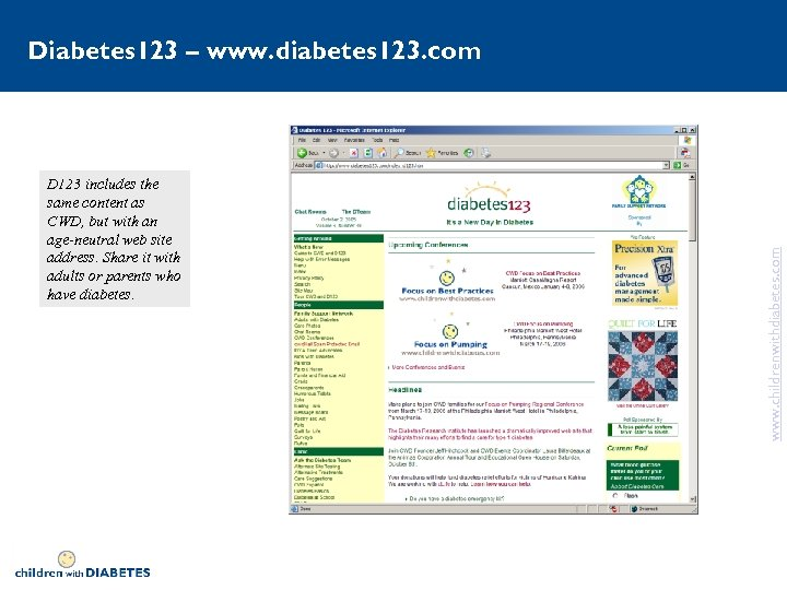 D 123 includes the same content as CWD, but with an age-neutral web site